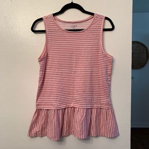 Loft Pink and White Ruffled Tank Top, M